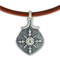 North Star Pendant on Leather in Sterling Silver