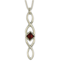 Twist Pendant Long in Garnet