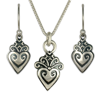 Corazonita Earrings and Pendant Set in Sterling Silver
