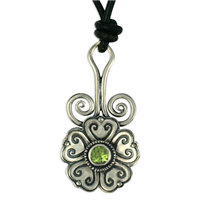 Heart Bloom Pendant in Peridot
