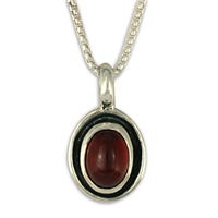 Oval Gem Pendant in Garnet
