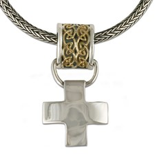 Snowdon Cross Pendant in 14K Yellow Gold Design w Sterling Silver Base