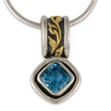 Flores Cushion Pendant in 18K Yellow Gold Design w Sterling Silver Base