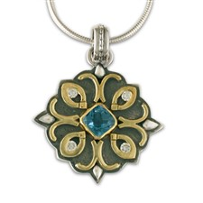 Brigid Pendant with Gems in Topaz: Swiss Blue