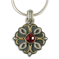 Brigid Pendant  in 14K Yellow Gold Design w Sterling Silver Base