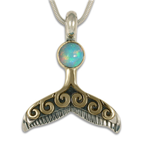 Whale Tail Pendant with Opal in 14K Yellow Gold Design w Sterling Silver Base