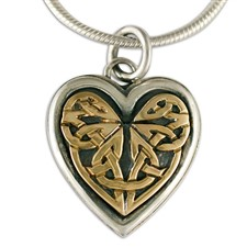Heart Woven Pendant in 14K Yellow Gold Design w Sterling Silver Base