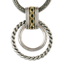 Links Pendant  in 14K Yellow Gold Design w Sterling Silver Base