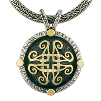 Shona Medallion in 14K Yellow Gold Design w Sterling Silver Base