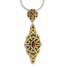 Kalisi Pendant with Marquis in 14K Yellow Gold Design w Sterling Silver Base