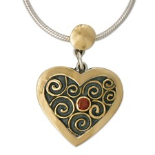Swirl Heart Pendant in 14K Yellow Gold Design w Sterling Silver Base