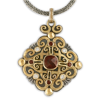 Shonifico Pendant in 14K Yellow Gold Design w Sterling Silver Base