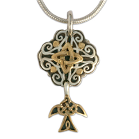 Grace Pendant in 14K Yellow Gold Design w Sterling Silver Base