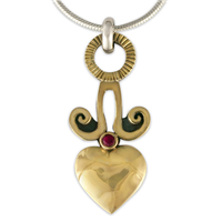 Angelica Heart Pendant in 14K Yellow Gold Design w Sterling Silver Base