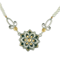 Kamala Necklace in 14K Yellow Gold Design w Sterling Silver Base