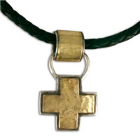 Wistra Cross Pendant in 14K Yellow Design/Sterling Base