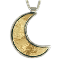 Wistra Moon Pendant in 14K Yellow Gold Design w Sterling Silver Base