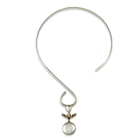 Pearl Plunge Pendant on Silver Collar in 14K Yellow Gold Design w Sterling Silver Base