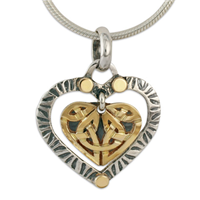 Taliesin Heart Pendant in 14K Yellow Gold Design w Sterling Silver Base