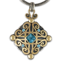 Shonifico Pendant with Gems in Topaz: Swiss Blue