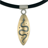 Serpent Pendant in 14K Yellow Design/Sterling Base