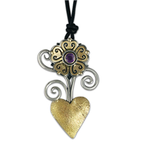 Heart Flower Pendant in Amethyst