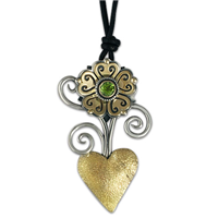 Heart Flower Pendant in 14K Yellow Gold Design w Sterling Silver Base
