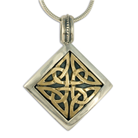 Dublin Pendant in 14K Yellow Design/Sterling Base