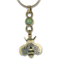 Bee Pendant with Ethiopian Opal in 14K Yellow Gold & 18K Yellow Gold w Sterling Silver