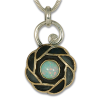 Quin Opal Pendant in 14K Yellow Gold Design w Sterling Silver Base