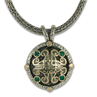 Shona Pendant in 14K Yellow Gold Design w Sterling Silver Base