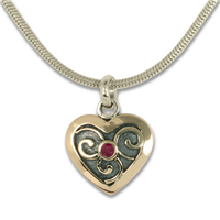 Mini Heart Swirl Pendant in 14K Yellow Gold Design w Sterling Silver Base