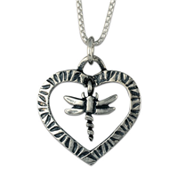 Taliesin Heart with Dragonfly Pendant in Sterling Silver