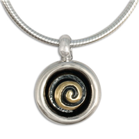 Spiral Eclipse Pendant in 14K Yellow Gold Design w Sterling Silver Base