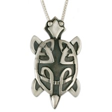 Turtle Pendant Large in Sterling Silver