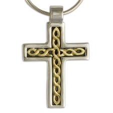 Rope Cross in 14K Yellow Design/Sterling Base