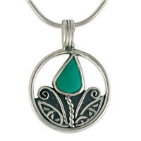 Tulip Turquoise Pendant in Sterling Silver