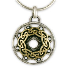 Celtic Mandala Pendant in 14K Yellow Gold Design w Sterling Silver Base