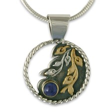Dawn Pendant Small in 14K Yellow Gold Design w Sterling Silver Base