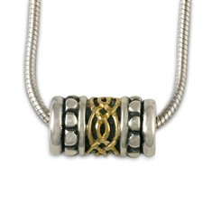 Laura Bead Pendant in 14K Yellow Gold Design w Sterling Silver Base