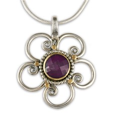 Passion Flower Pendant in 14K Yellow Gold Design w Sterling Silver Base