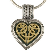 Twisted Heart Pendant in 14K Yellow Gold Design w Sterling Silver Base