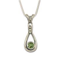 Droplet Pendant with Gem in Peridot