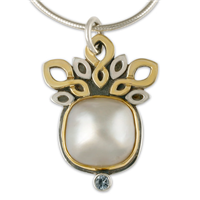 Diva Mabe Pendant in 14K Yellow Gold Design w Sterling Silver Base