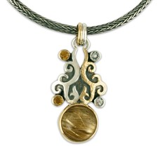 Mimic Pendant in 14K Yellow Gold Design w Sterling Silver Base