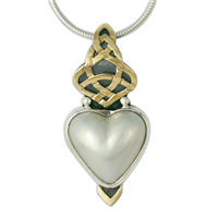 Kalisi Heart Pendant in 14K Yellow Design/Sterling Base