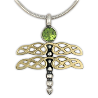 Dragonfly Pendant in Peridot