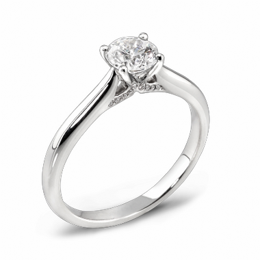 Classic Solitaire Canadian Diamond Fairtrade Gold Engagement Ring in 18K White Gold