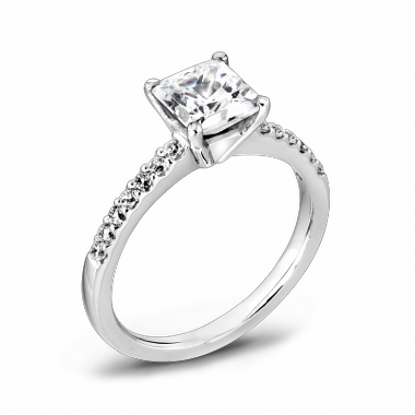 Princess Cut Canadian Diamond Fairtrade Gold Engagement Ring in 18K White Gold