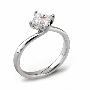 Princess Cut Canadian Diamond Engagement Ring in 18K White Gold